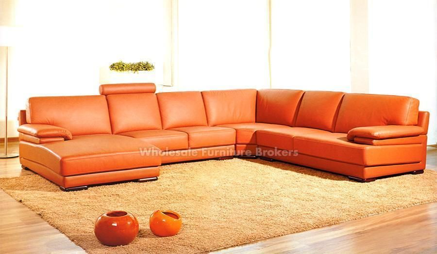 Orange Leather Sectional Sofa Modern Sofa Sectional Modern