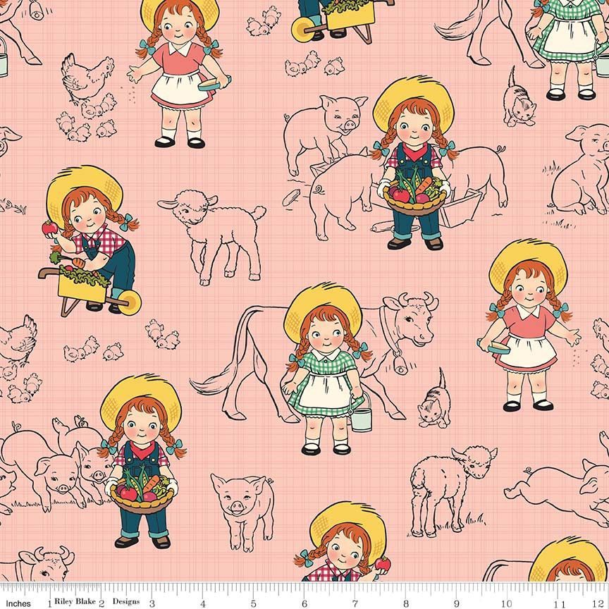 Farm Girl Main Pink Yardage by October Afternoon for Riley Blake Designs