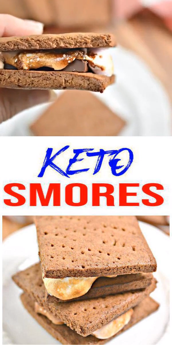 Keto Smores! BEST Low Carb Keto Chocolate Marshmallow Graham Cracker Smores Idea – Quick & Easy Ketogenic Diet Recipe – Completely Keto Friendly images