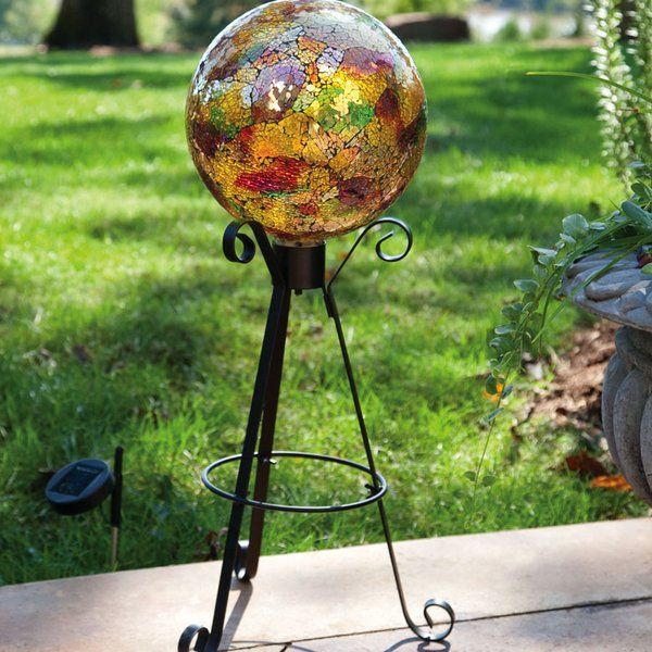 The Evergreen Flag U0026 Garden Tall Solar Gazing Ball Stand Holds Your Gazing  Globe In A