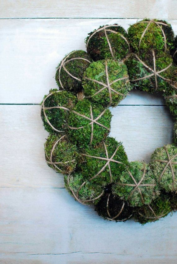 Photo of Natural moss wreath; Natural wall decor; Moss decor; Rustic wall decor; Minimalist decor; Scandinavian style wall decor; Indoor wreath;