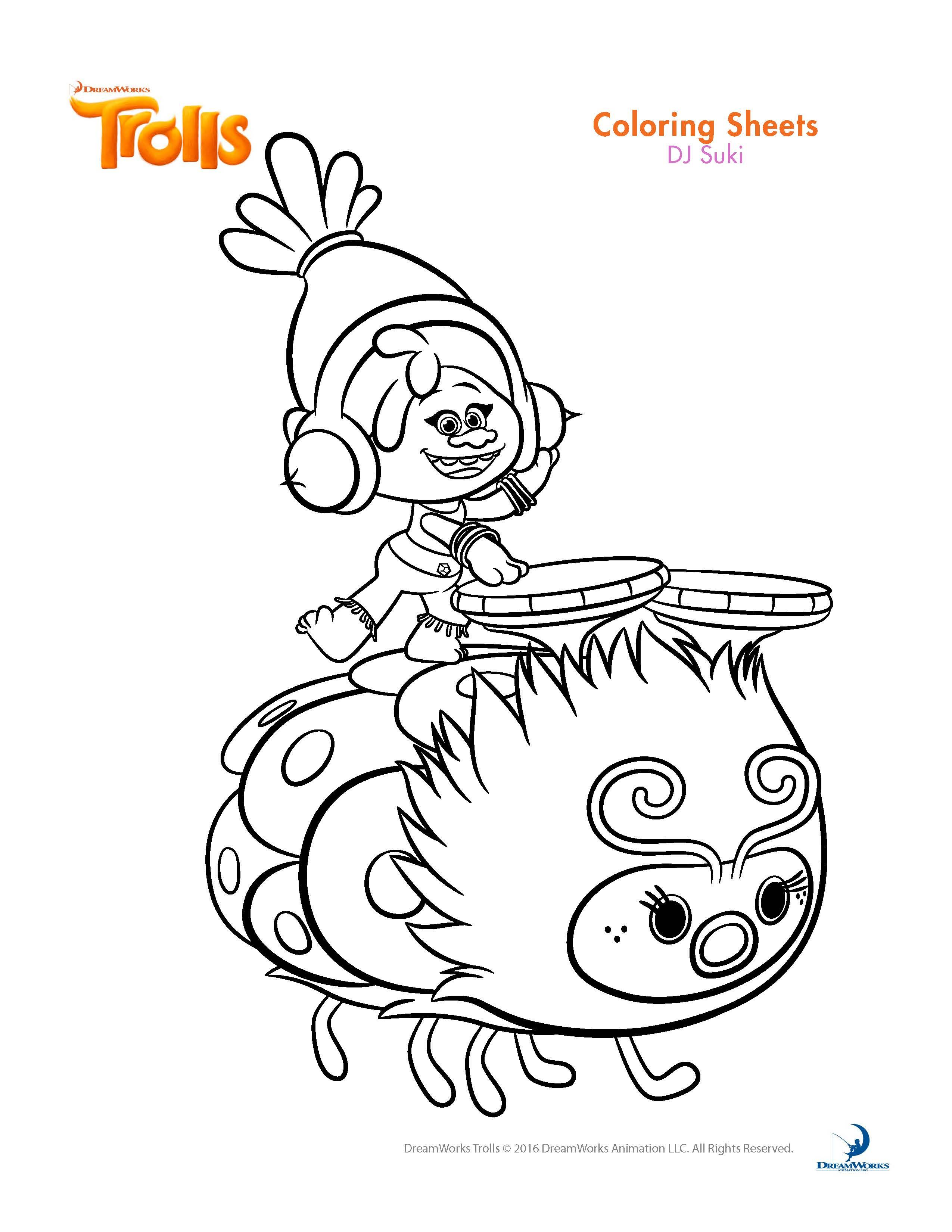 Printable coloring pages trolls - Trolls Movie Coloring Page