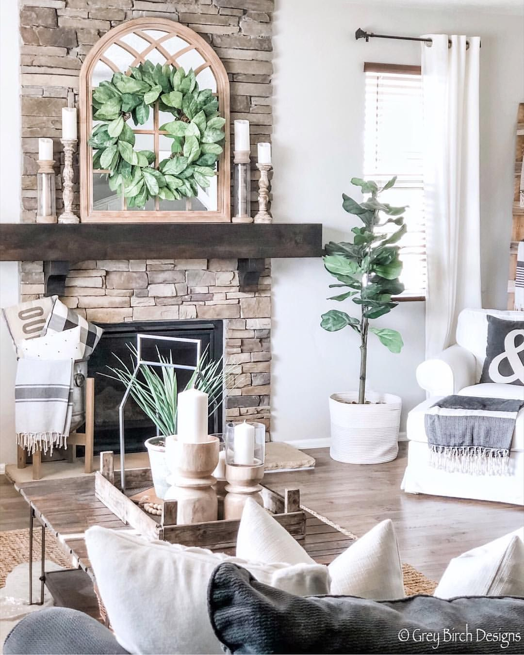 """Photo of Modern Farmhouse Designer on Instagram: """"I changed up my mantle a bit because I added this amazing magnolia wreath from @rcwilley It was one of the items I picked up when I did my…"""""""