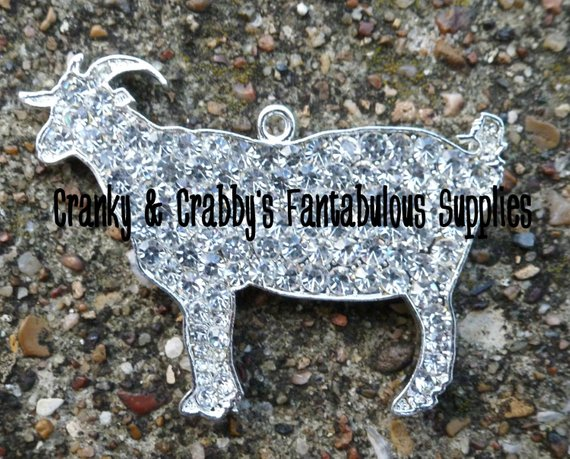 Rhinestone Goat - 47mm X 57mm - livestock - Chunky Necklace in 2019