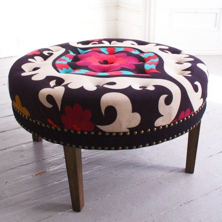 Fancy   Suzani Print Bath Button Footstool   Chairs U0026 Stools   Furniture