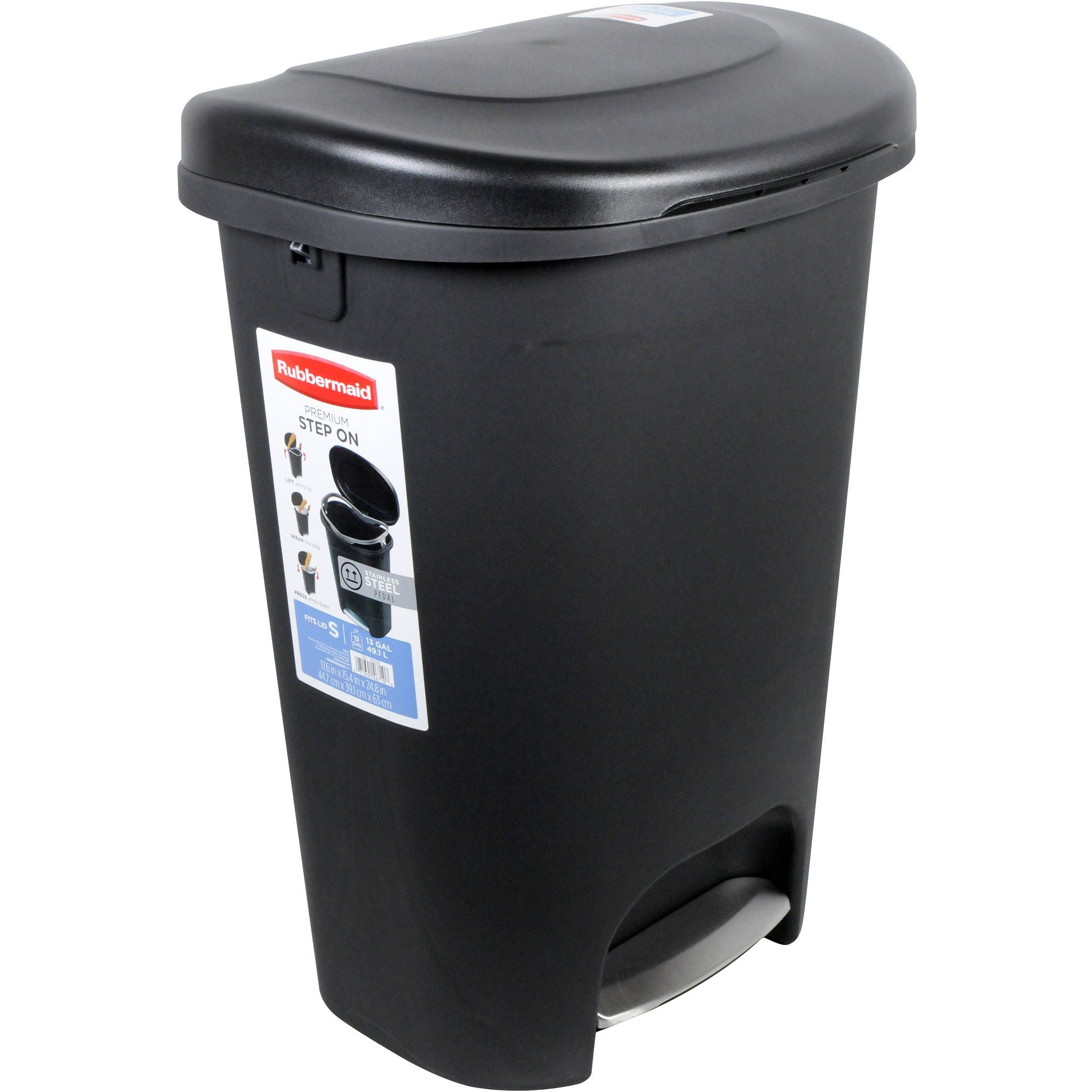 Rubbermaid Premium Step On Trash Can 13 Gal Black With Metal Accent Walmart Com Kitchen Trash Cans Trash Can Waste Basket