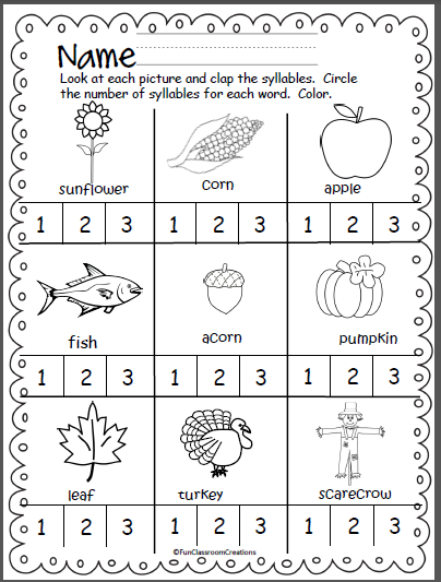 Fall Thanksgiving Syllables Practice Page Madebyteachers Syllable Worksheet Syllables Kindergarten Fall Kindergarten
