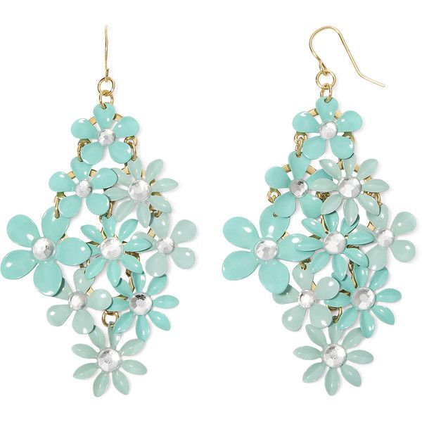 Decree Blue Stone Gold-Tone Flower Chandelier Earrings (16 AUD ...