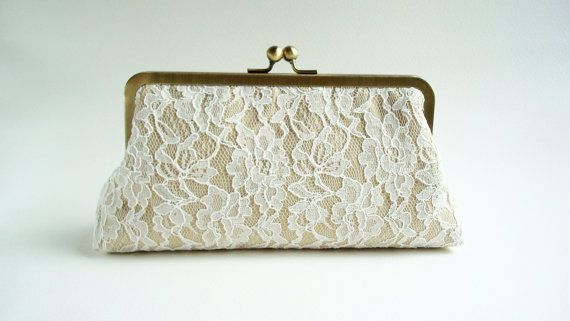Bridal Accessories Clutch Ivory Lace Champagne and Turquoise Dupioni Silk Large Size  Wedding Purse Clutch Bag Ready to Ship via Etsy