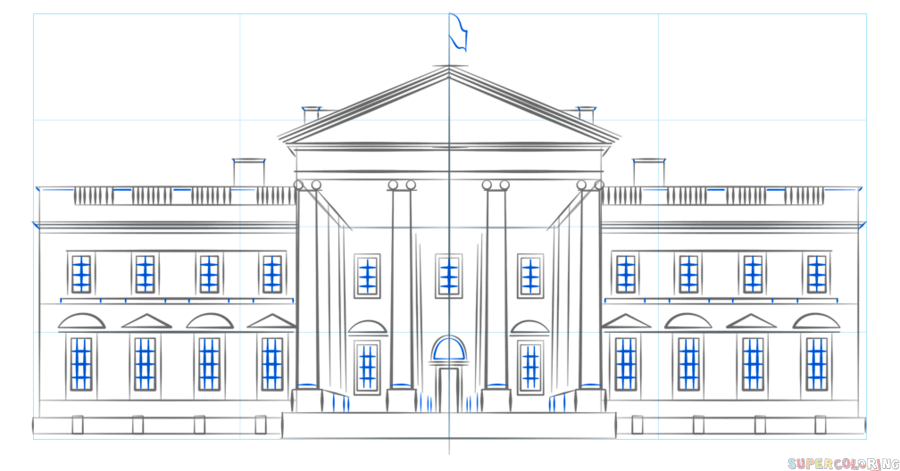 How To Draw The White House Step By Step Drawing Tutorials White House Drawing House Drawing White House
