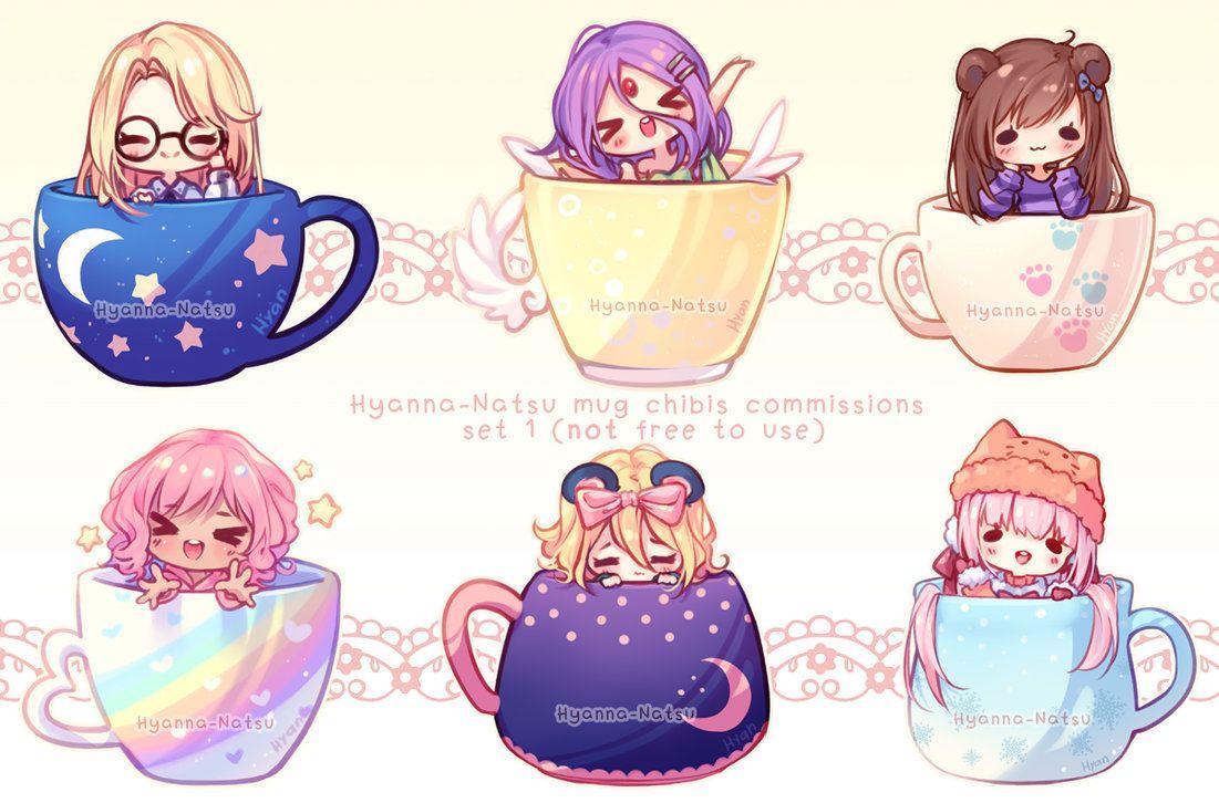 Commission Mug Chibi Set 1 By Hyanna Natsu Cute Anime Chibi Chibi Anime Chibi