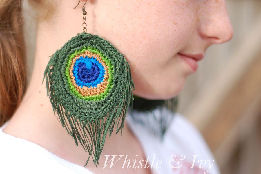 Crochet Peacock Feather Earrings | Tejido | Pinterest | Pendientes ...