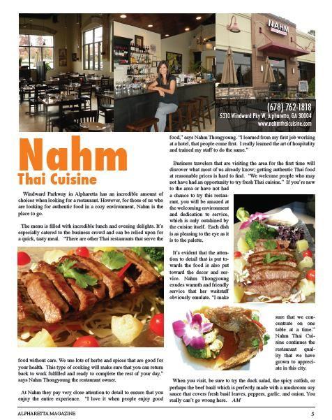 Nahm Thai Cuisine Review from Alpharetta Magazine