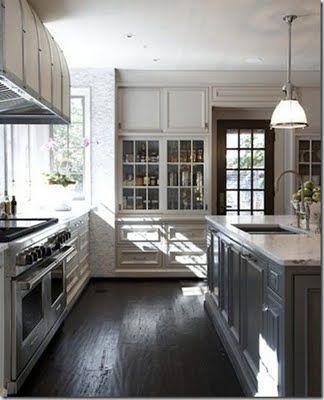 Tracery Interiors Kitchen With White Cabniets Grey Island And Dark