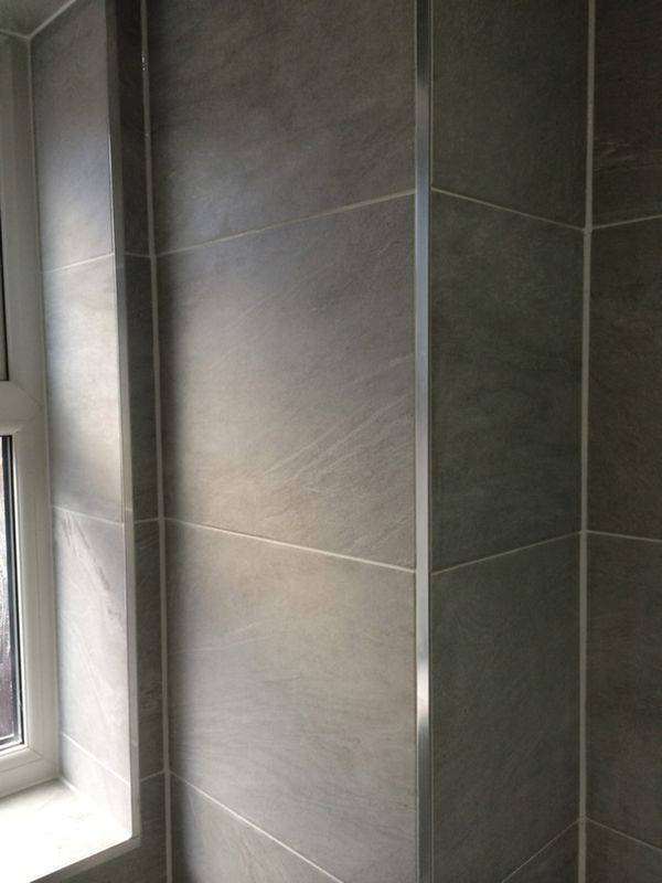 Chrome Tile Trims L Section With Bathroom Installation In Leeds ...