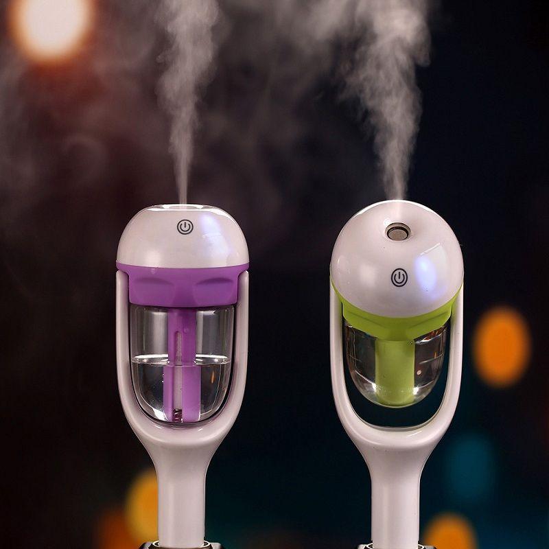 Nanum 12 볼트 자동차 스팀 가습기 공기 청정기 아로마 디퓨저 에센셜 오일 디퓨저 아로마 미스트 메이커 fogger 보라색 녹색