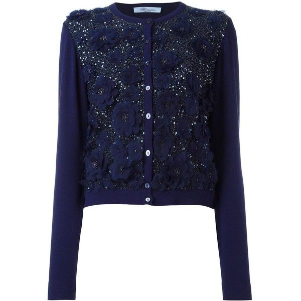 Blumarine sequined floral applique cardigan (€750) ❤ liked on ...