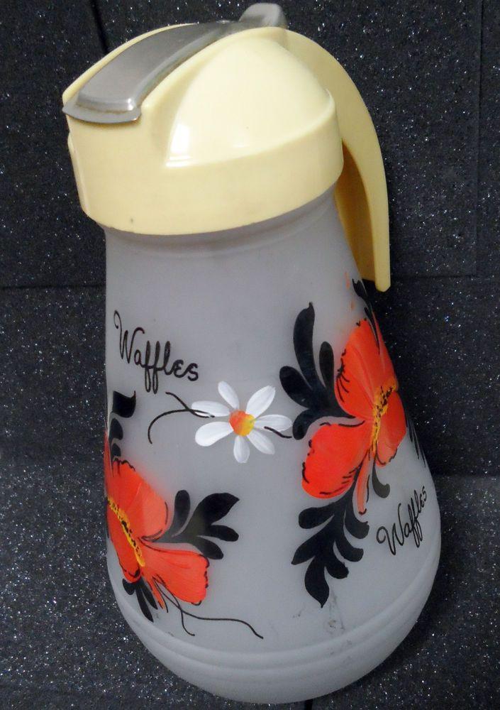 "Vintage Waffle Batter/Syrup Dispenser 9"" Handpainted Flowers by Hazel-Atlas"