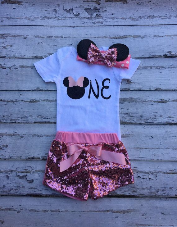 20543c467d0e06 Pink Mouse birthday outfit Onesie Minnie headband sequin shorts ...