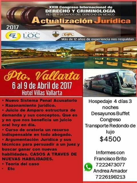 Congreso de Derecho y Criminología en Puerto Vallarta 🌴 salimos de Toluca! Aparta tu lugar con 600 pesos!
