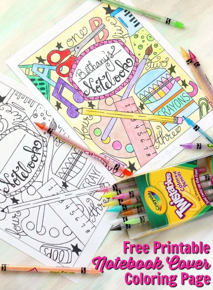 Free Printable Notebook Cover   Colorear, Marcos y Escuela