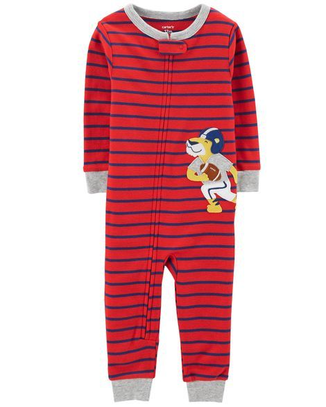 a680aad59f40 1-Piece Tiger Snug Fit Cotton Footless PJs