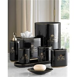 NEW Le Bain Bathroom Accessories Set Is Now Available In Black Porcelain  With Gold Trim.