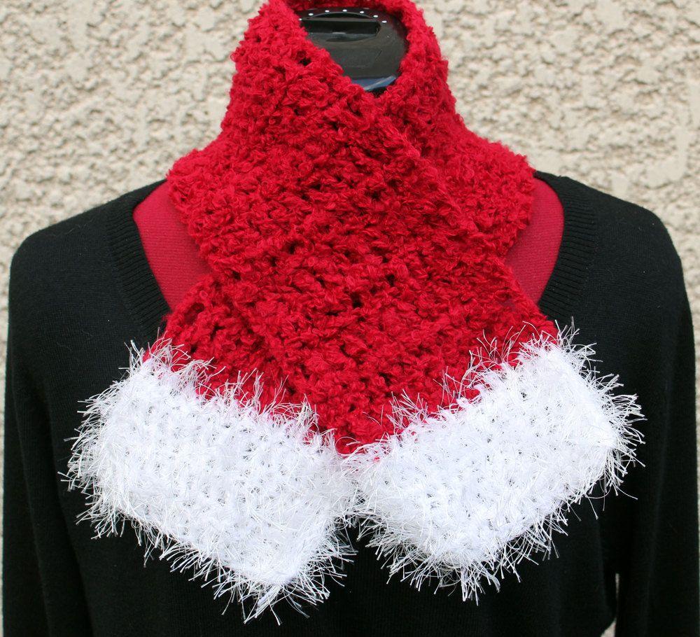 Girl\'s Santa Style Handmade Crochet Scarf & Earwarmer / Red, White ...
