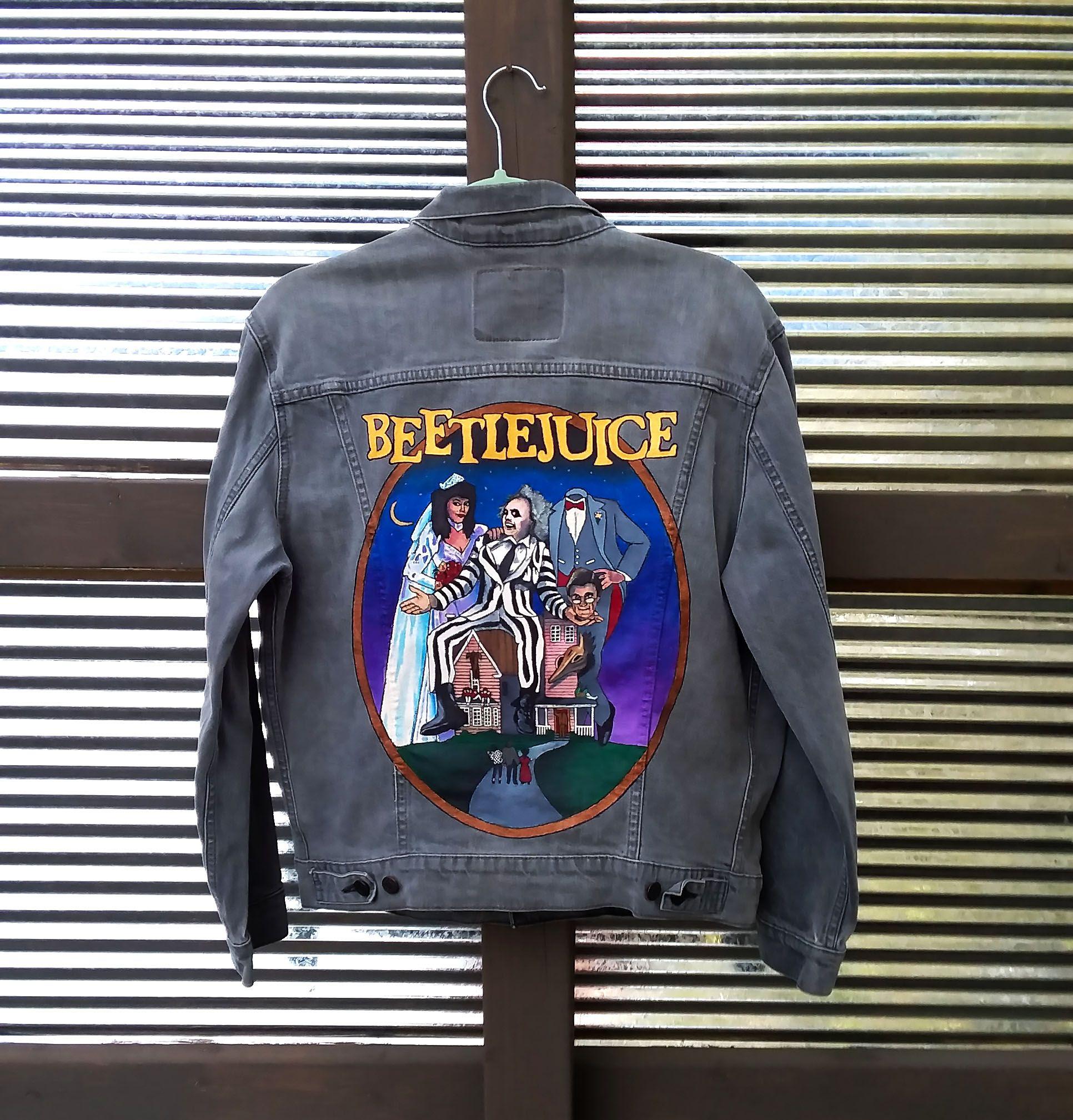 Hand Painted Beetlejuice Poster On The Back Of A Gray Levi S Jean Jacket By Bleudoor On Instagram Painted Jacket Painted Denim Jacket Embellished Jacket [ 2017 x 1932 Pixel ]
