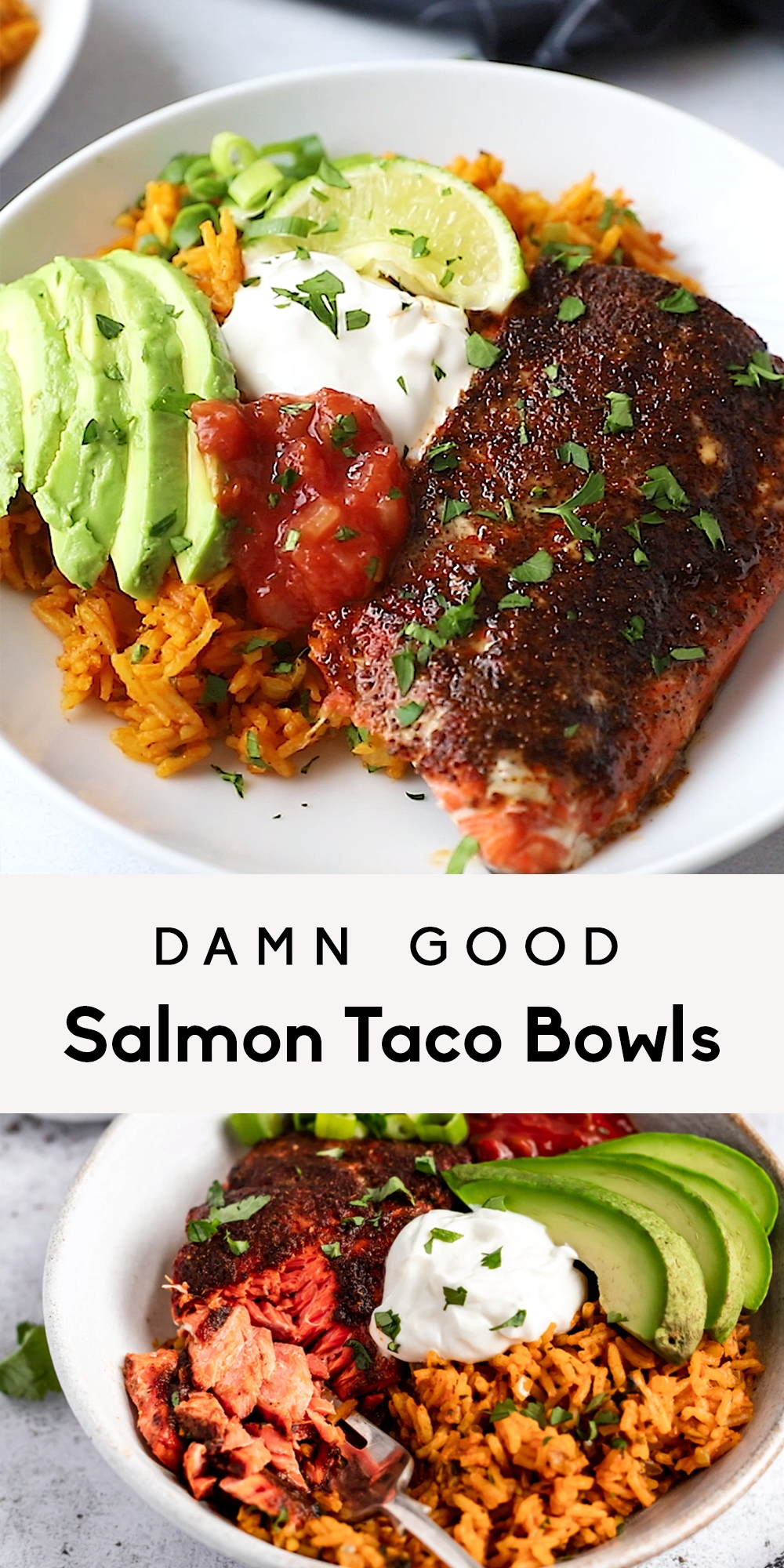 Delicious salmon taco bowls with homemade taco seasoned salmon and served with flavorful sofrito rice. Add avocado, salsa, green onion, cilantro and any other toppings your heart desires for a wonderful meal prep dinner for two! #salmon #tacobowls #tacos #seafood #fish #sofrito #mealprep #dinner #glutenfree #healthydinner