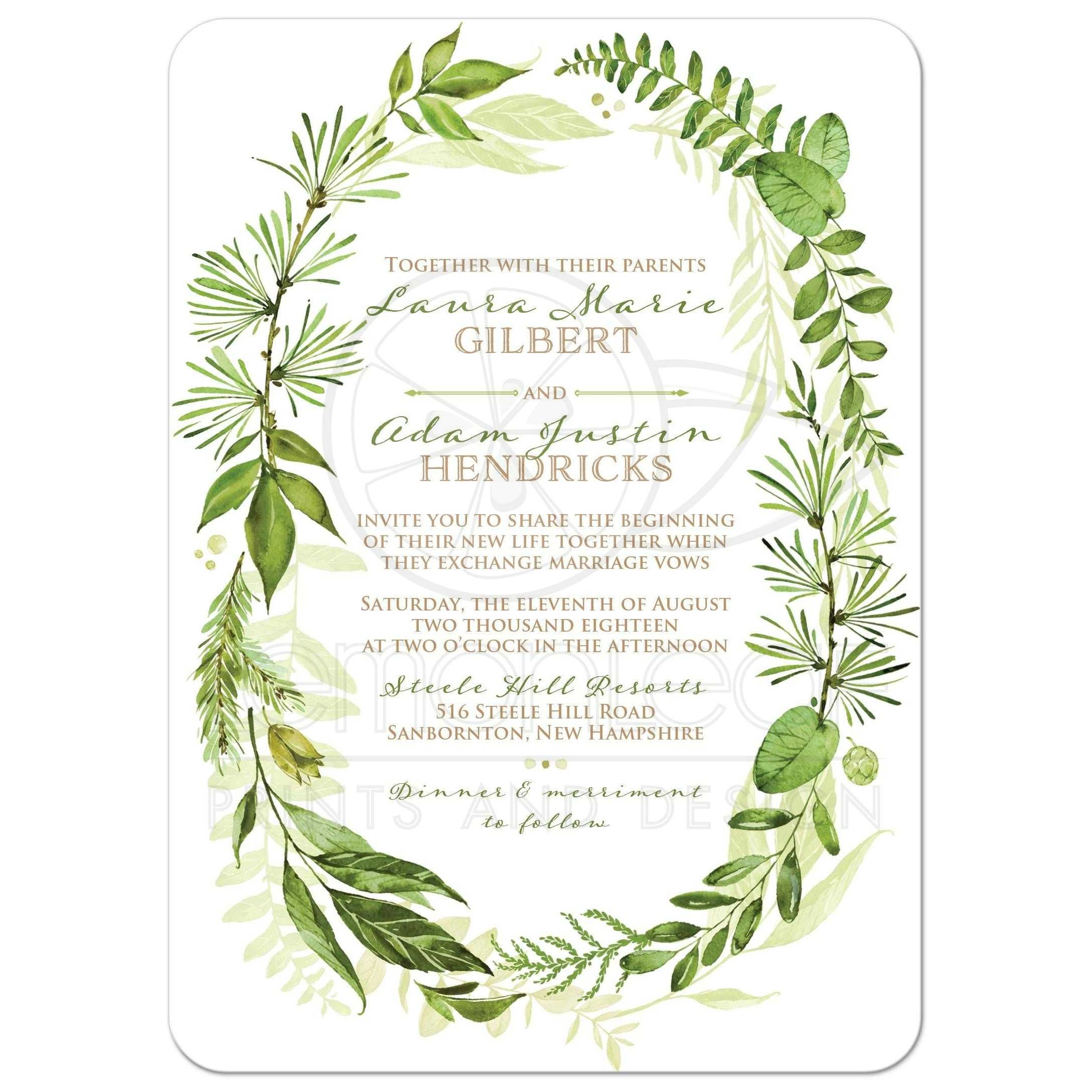 Greenery foliage wedding invitation watercolor leaves for Watercolor greenery