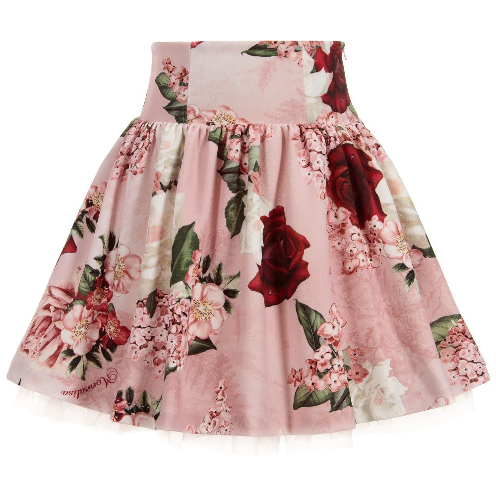 a1ed40bd6abd Girls Pink Floral Skirt for Girl by Monnalisa Chic. Discover more beautiful  designer Skirts for kids online
