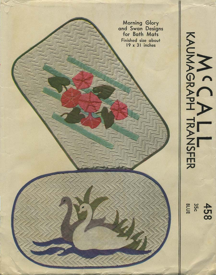 Vintage Sewing Pattern for Applique Bath Mats | McCall 458 | Year 1937 | Pattern includes Kaumagraph transfer for Morning Glory design 12¾ x 22 inches for bath mat finished size 19 x 30½ inches and transfer for Swan design 14 x 23½ inches for bath mat finished size 19 x 31 inches.