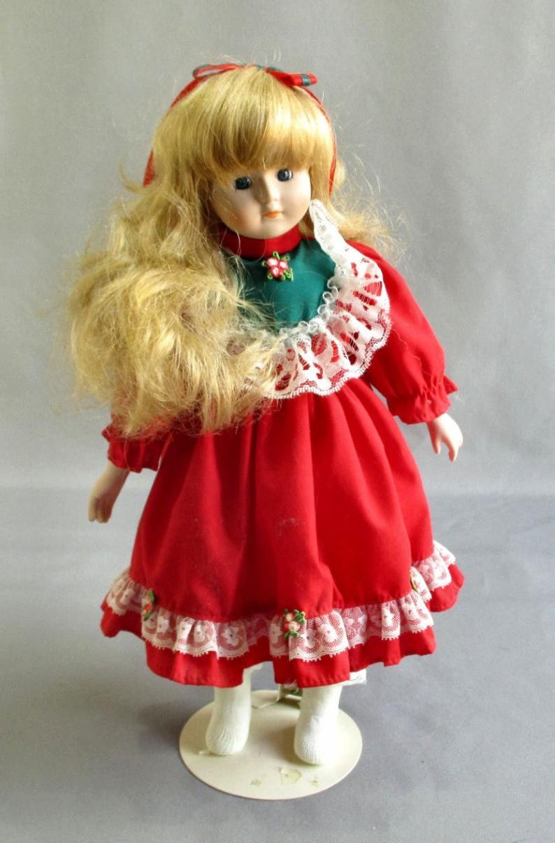 Porcelain Christmas Dress Girl Doll Blonde Hair Blue Eyes Soft  Etsy