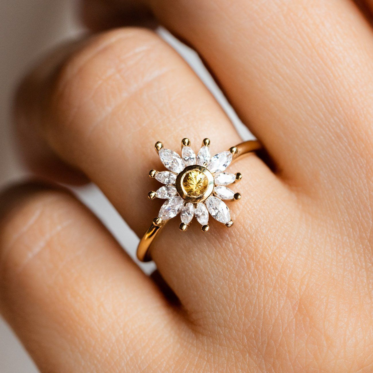 Hazy Daydream Sapphire Sunflower Ring Pink tourmaline