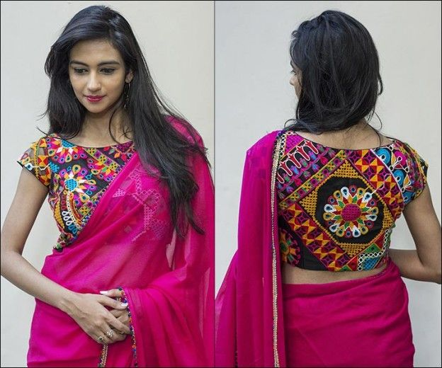 eba25739756ce Boat neck blouse designs fancy kutch work and patchwork  multicolouredgeorgette with cap sleeves solid back also