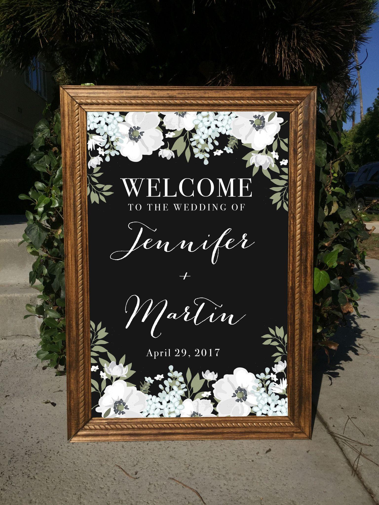 Welcome Wedding Sign - Rustic Wedding Framed Chalkboard | Wedding ...
