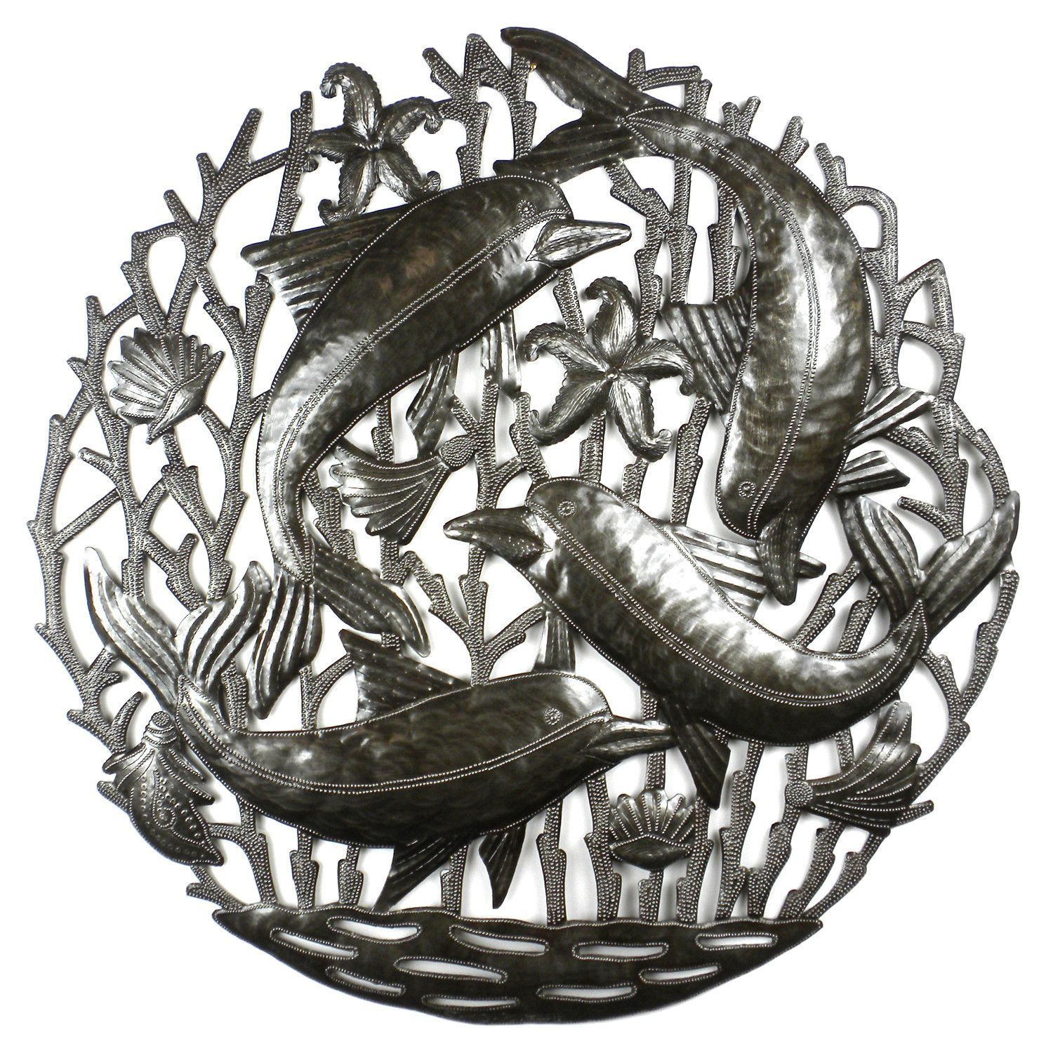 Pod of dolphins metal wall art croix des bouquets metal wall art