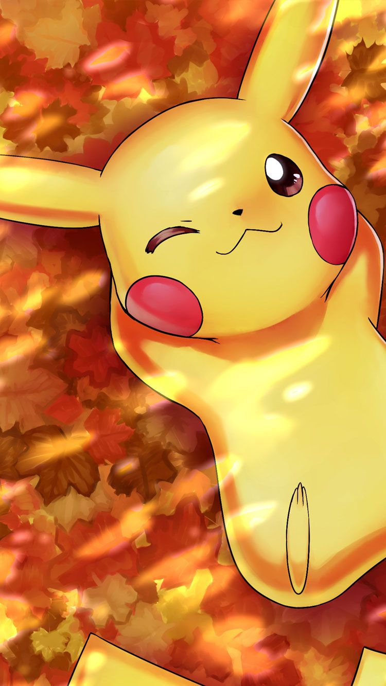 iphone pokemon wallpaper autumn pikachu iphone wallpaper 8446