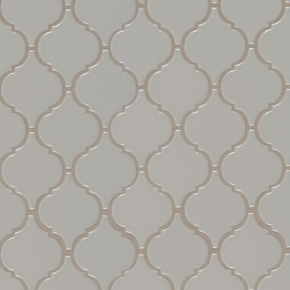 Msi Gray Glossy Arabesque 11 53 In X 9 65 In X 10mm Porcelain Mesh Mounted Mosaic Tile 15 46 Sq Ft Case In 2020 Mosaic Tiles Mosaic Wall Tiles Arabesque Tile