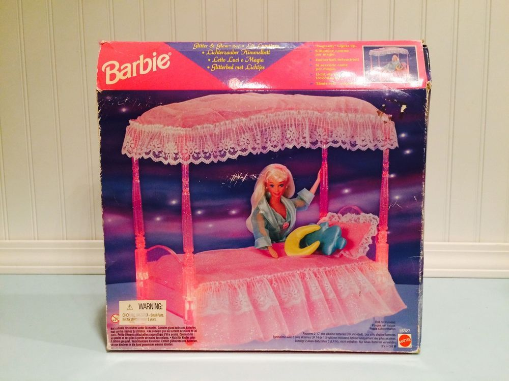 1996 Dream Glitter and Glow Canopy Bed Barbie 15327 Mattel House Accessories - Magically Lights Up