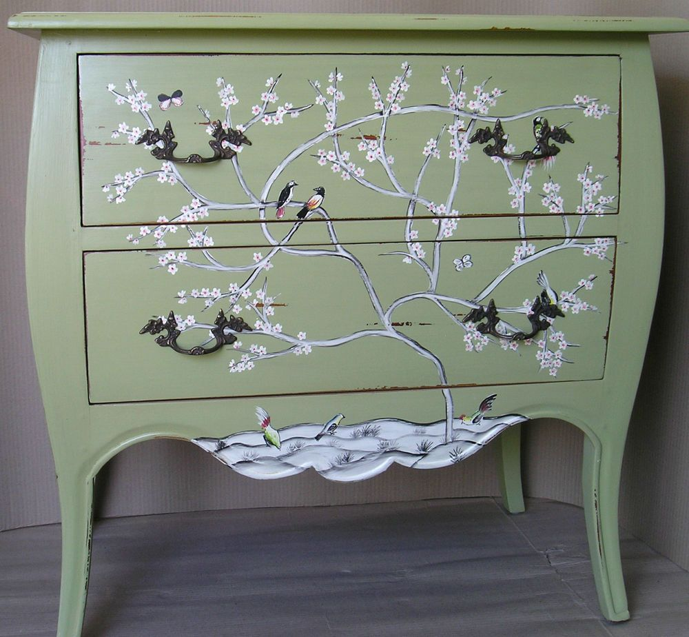 Shabby chic bombe chest of drawers designer steven shell for Hand painted chests