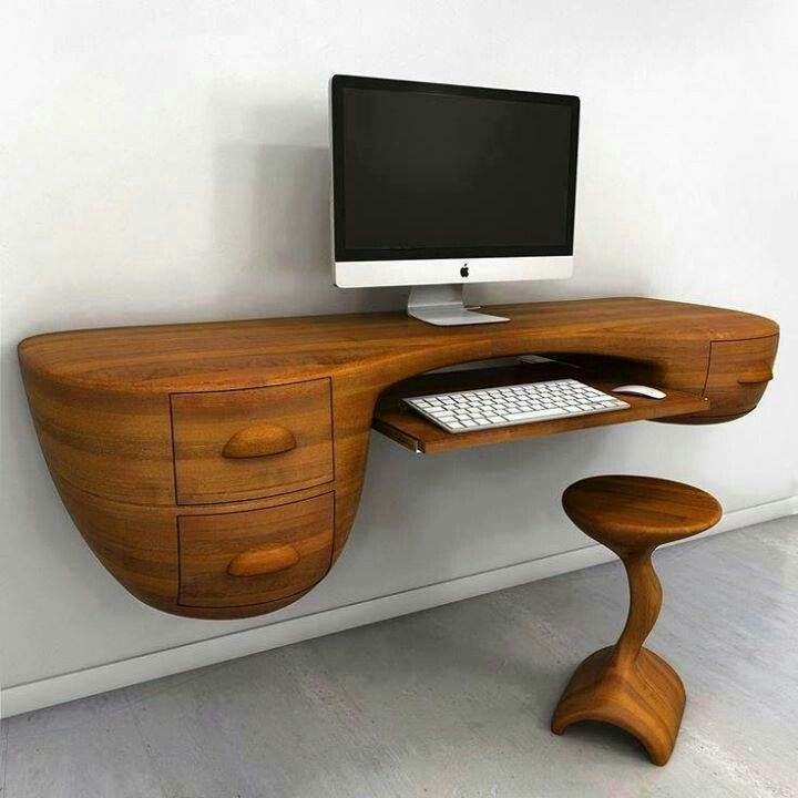 Charming Office : Amazing Computer Desk Design With Rustic Wood Top Idea And  Appealing Style Monitor Completed And Drawers Also Wooden Chair   29 Very Cool  Computer ...