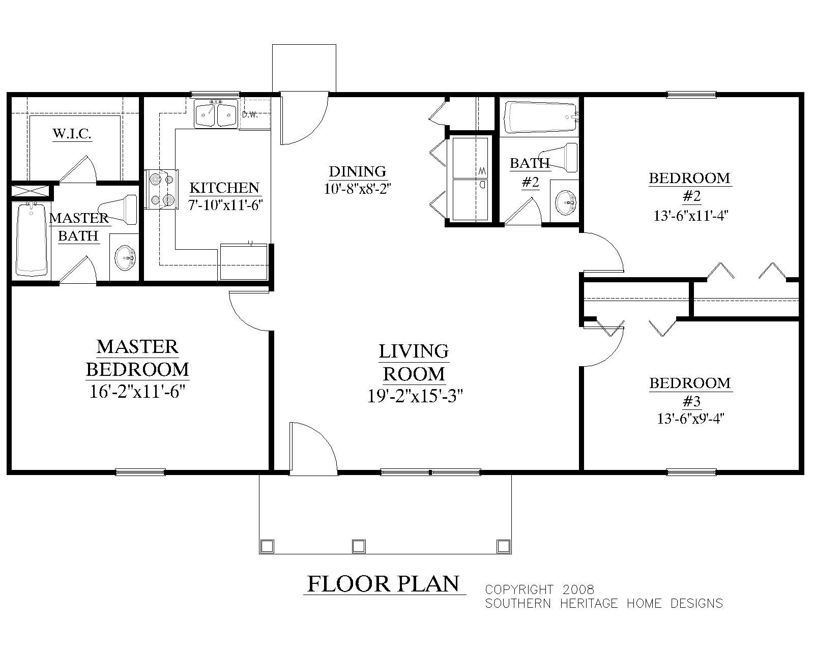 House Plan 1200 A The Korey A Floor Plan Ranch House Plans 20x40 House Plans House Plans One Story