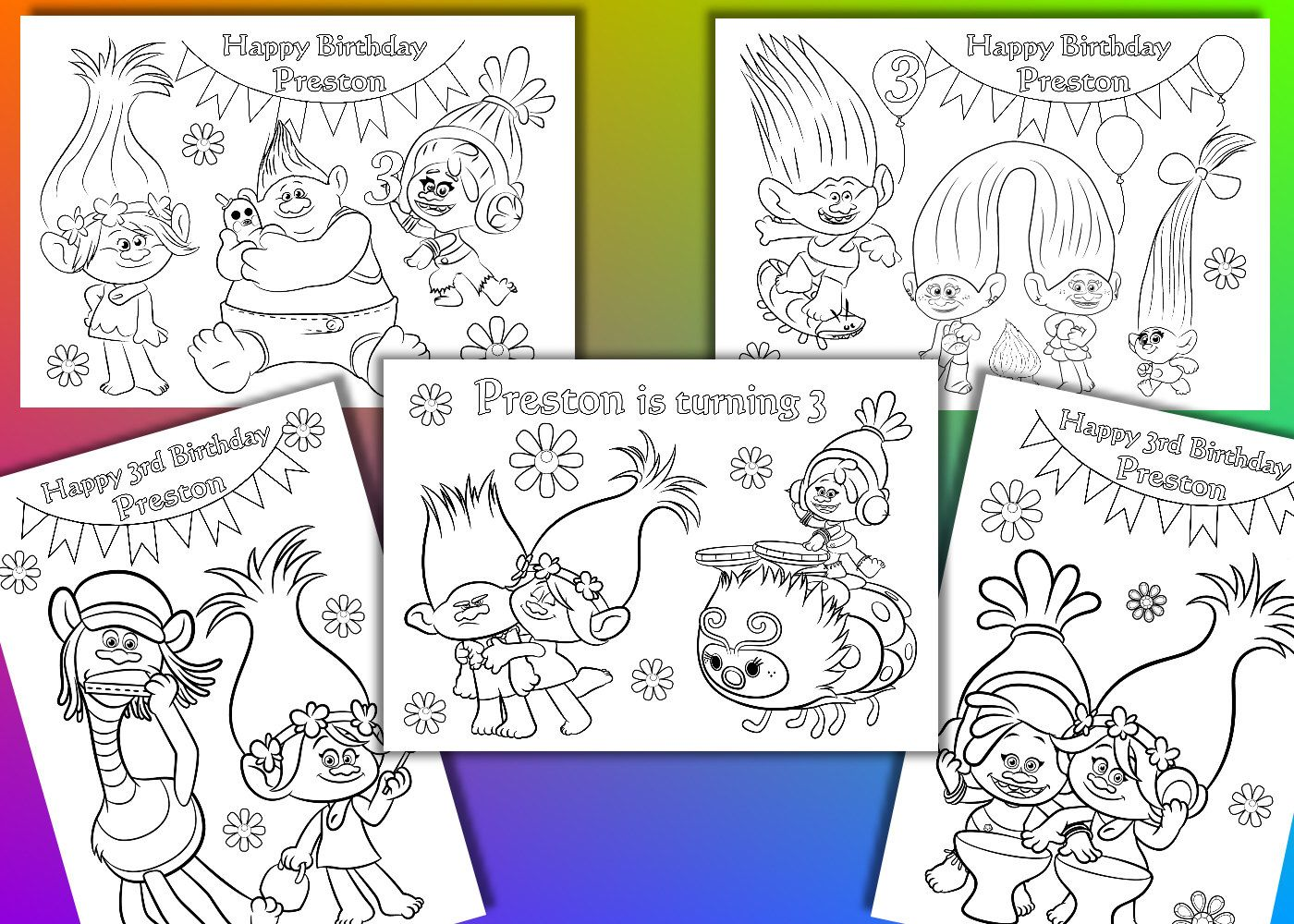 Funny Gnomes Coloring Pages Funny Gnomes Birthday Party Etsy Birthday Coloring Pages Trolls Birthday Party Trolls Birthday