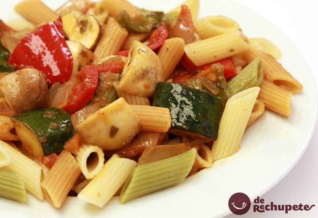 Macarrones Con Pisto Y Champiñones Receta Macarrones Con Verduras Recetas De Pasta Italiana Receta Macarrones