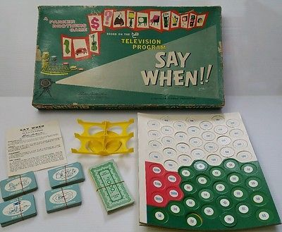 Say When Based On NBC Television Program Parker Brothers 1961 Vintage Board Game