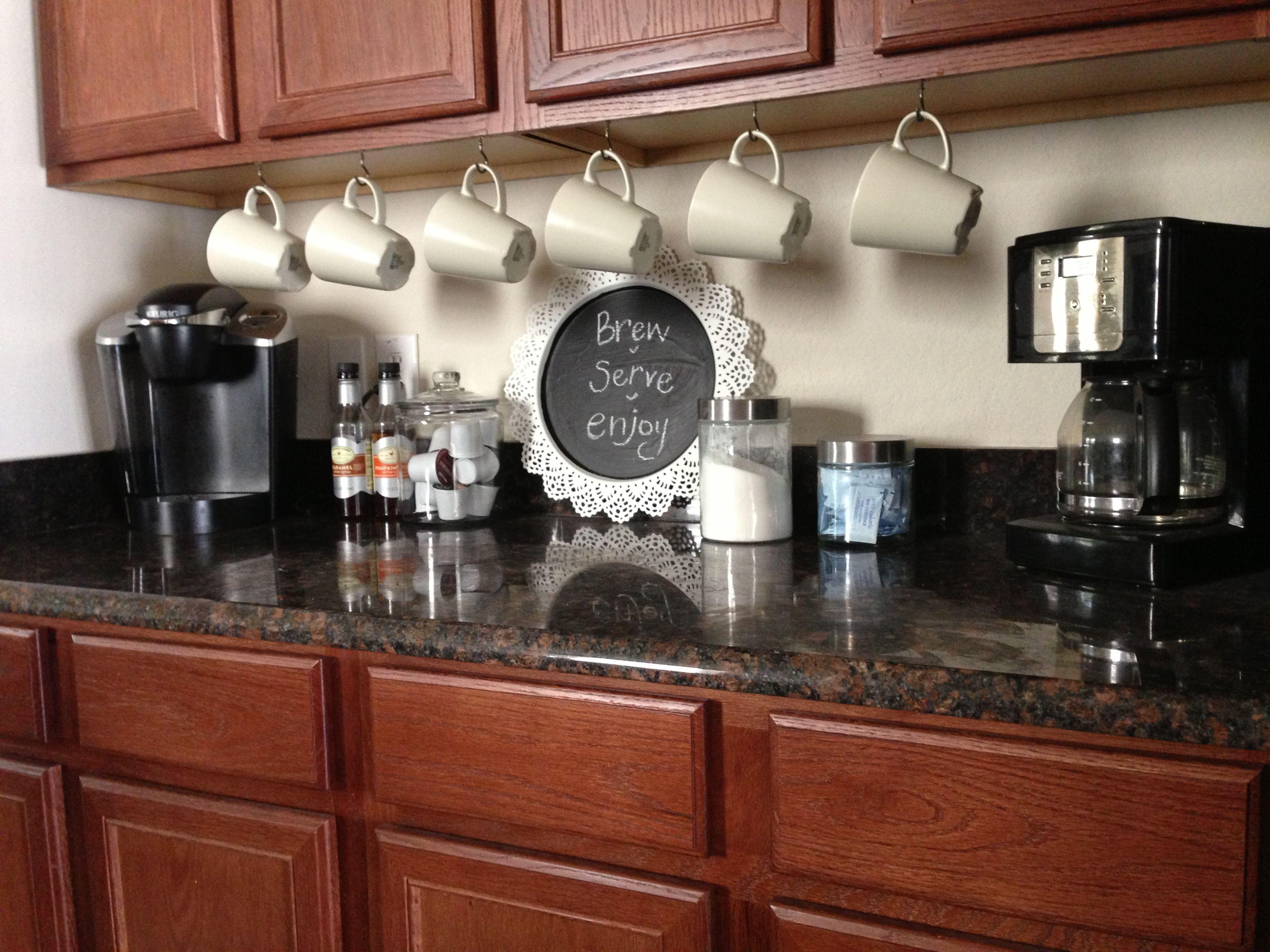 coffee bar cups under cabinets coffee