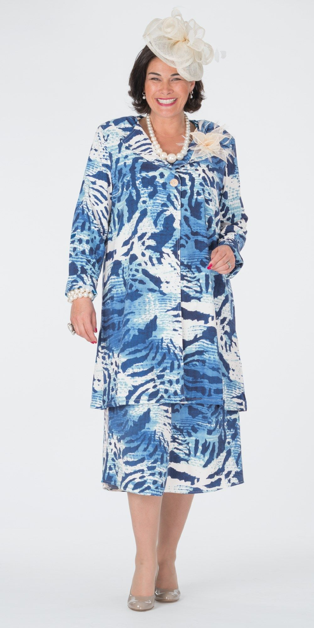 Box 2 navy/cream crepe print coat and dress | Outfits for Wedding ...