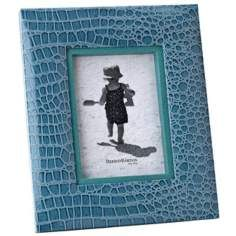 "Reed and Barton Faux Croc 5""x7"" Cool Blue Picture Frame"
